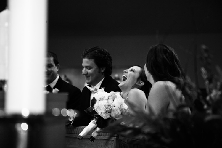 bride, ceremony, smile, laugh, black and white,