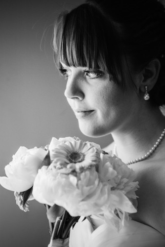 bride, flowers, bouquet , formal, portrait, black and white,