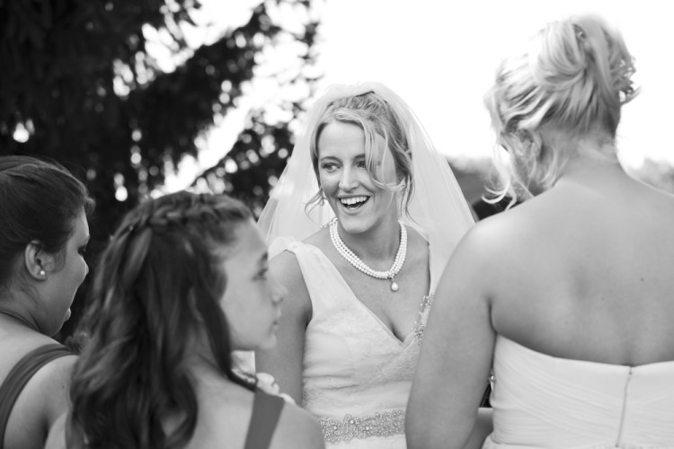 bride, bridesmaids, candid, black and white, smile, happy