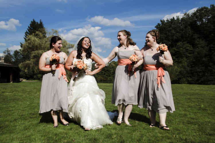 bride, bridesmaids, laughing, outdoors, smiling, happy