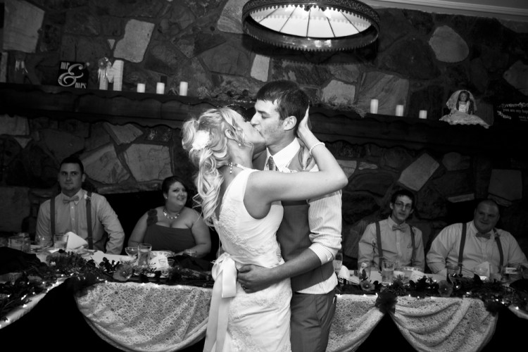 kiss, first dance, married, reception, black and white